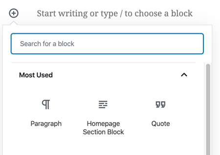 Image of custom block available within block modal