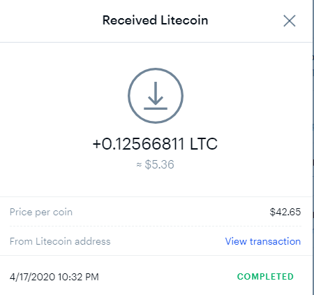 Transaction confirmation of LTC deposit at Coinbase from Coinpot