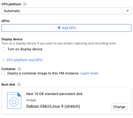 "GCP ""Create an Instance"" inset to show ""Add GPU"" button and Boot disk"
