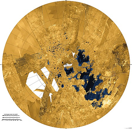 A circular map, showing a large cluster of lakes near the north pole at the center.