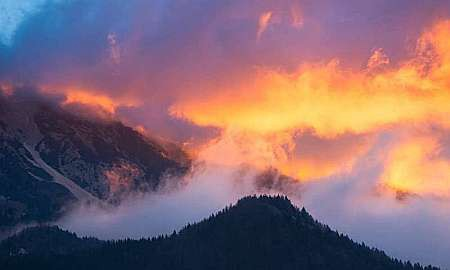 Mountains on fire.