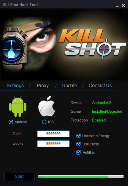 Kill Shot Hack for Money, Gold and Energy on your Android
