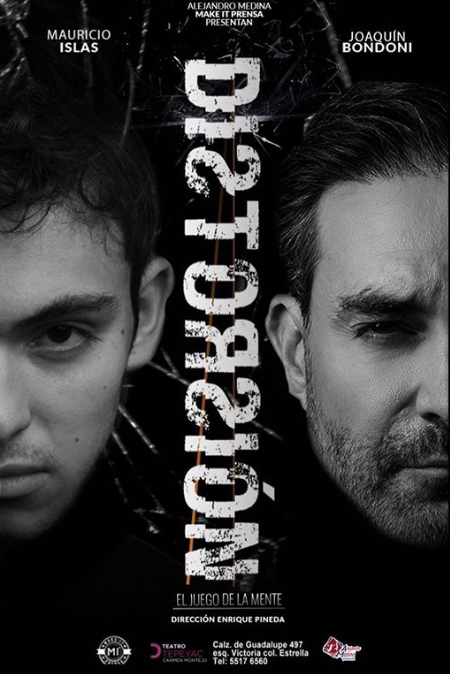 Bondoni on left with shattered glass behind him, Islas on right, shattered Distorsión logo in middle, all in black in white