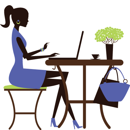 Image from www.clipart-gratis.com — A lady sitting on a desk using a laptop
