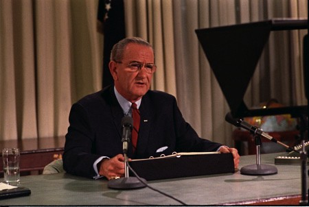 President Lyndon B. Johnson announces that he will not seek re-election in March 1968.
