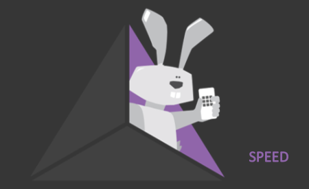 A Rabbit Holding a Cell Phone on the triangle