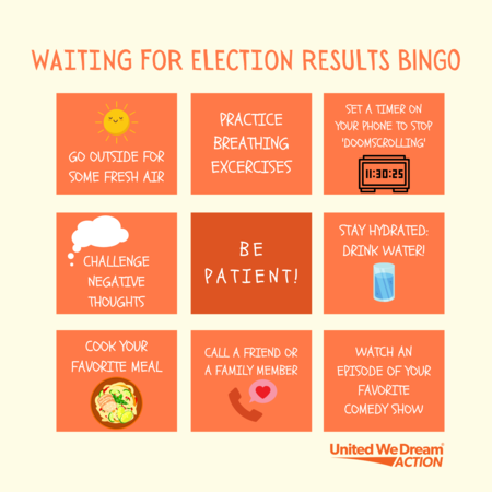 Waiting for Results Bingo: Be patient, challenge negative thoughts, practice breathing excercises, and more