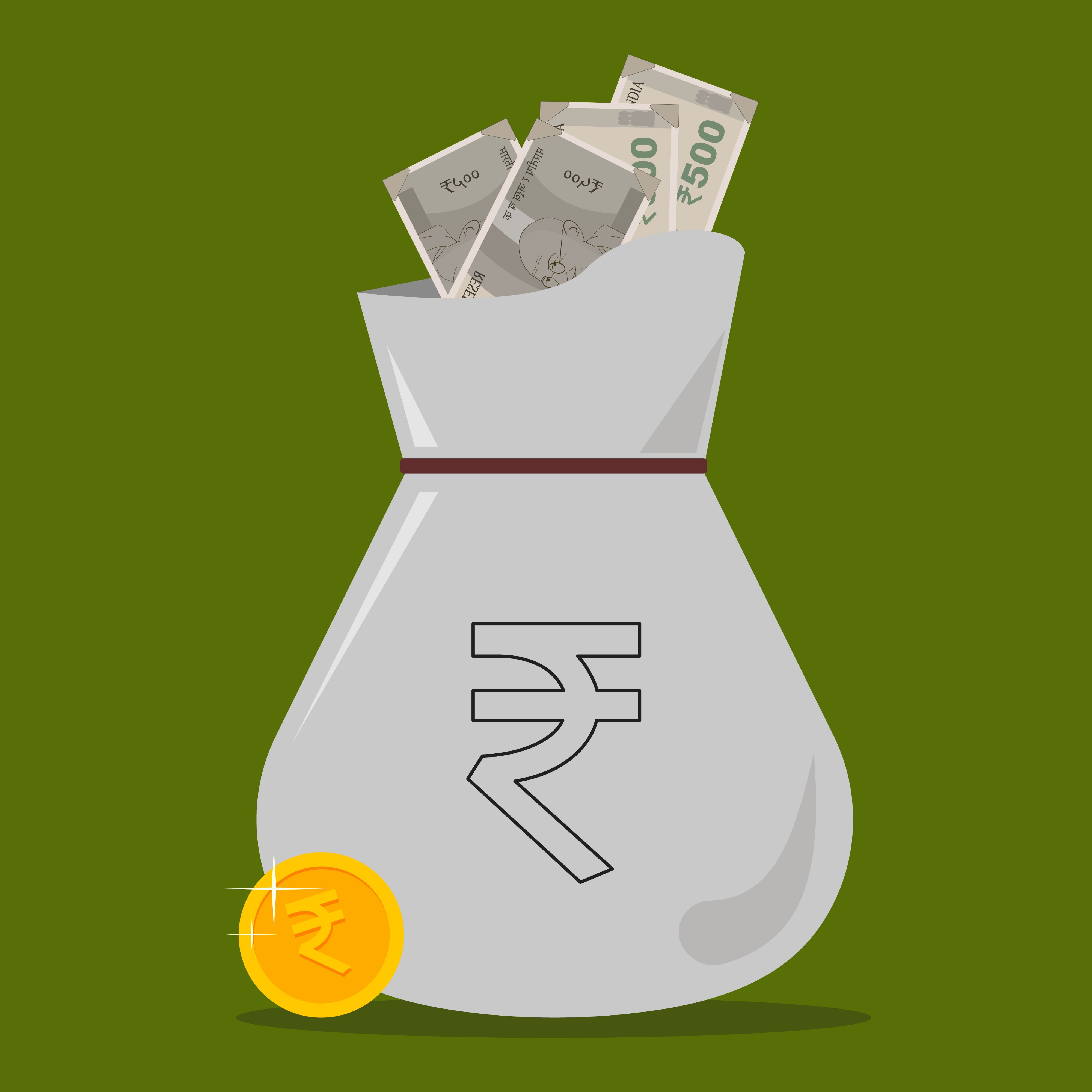 Bag of Indian money with Indian rupee sign in green background. The image indicates investment in fixed income investment options.