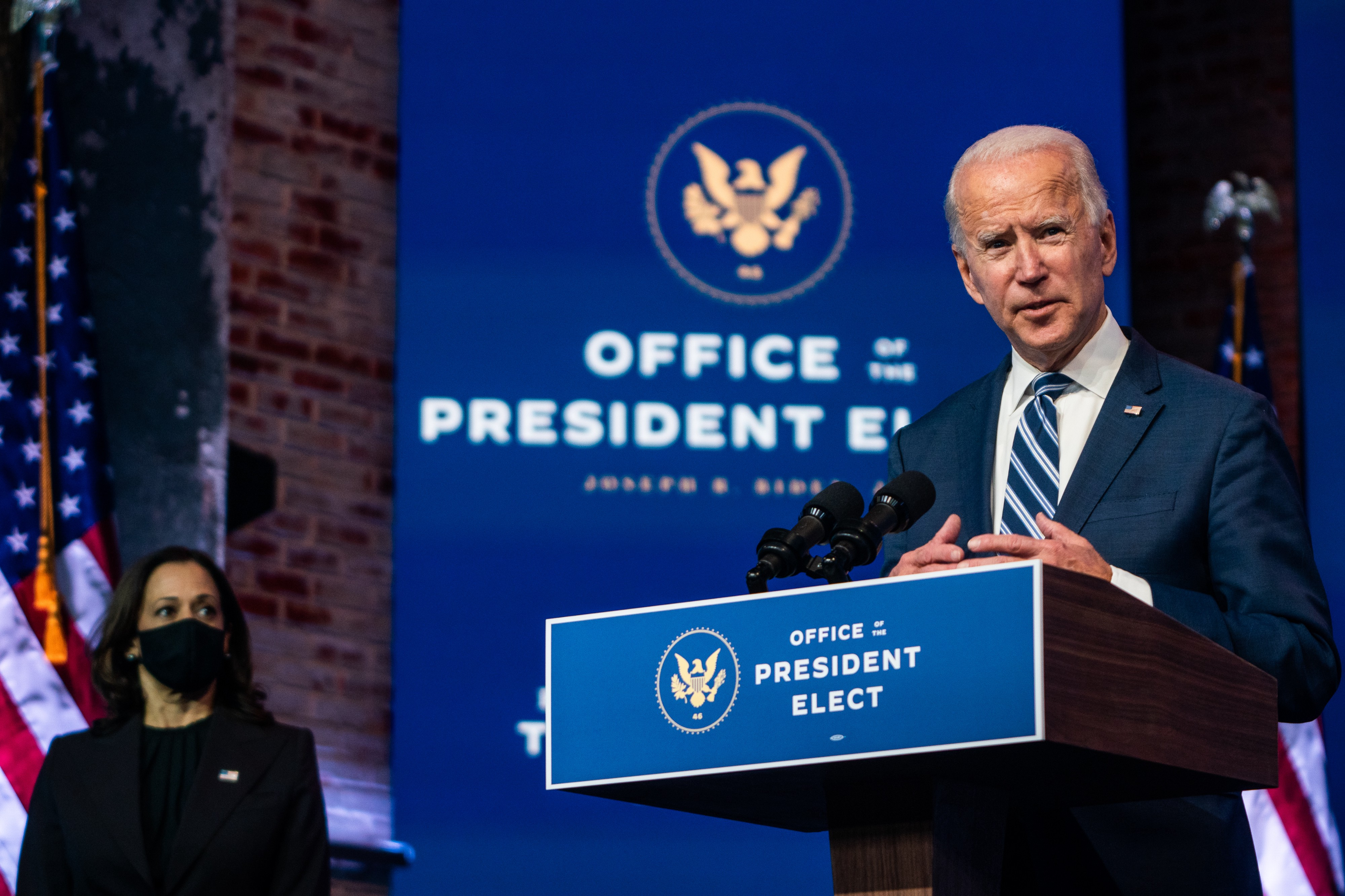 President- elect Joe Biden answer questions from the press at the Queen in Wilmington, DE on November 10, 2020.