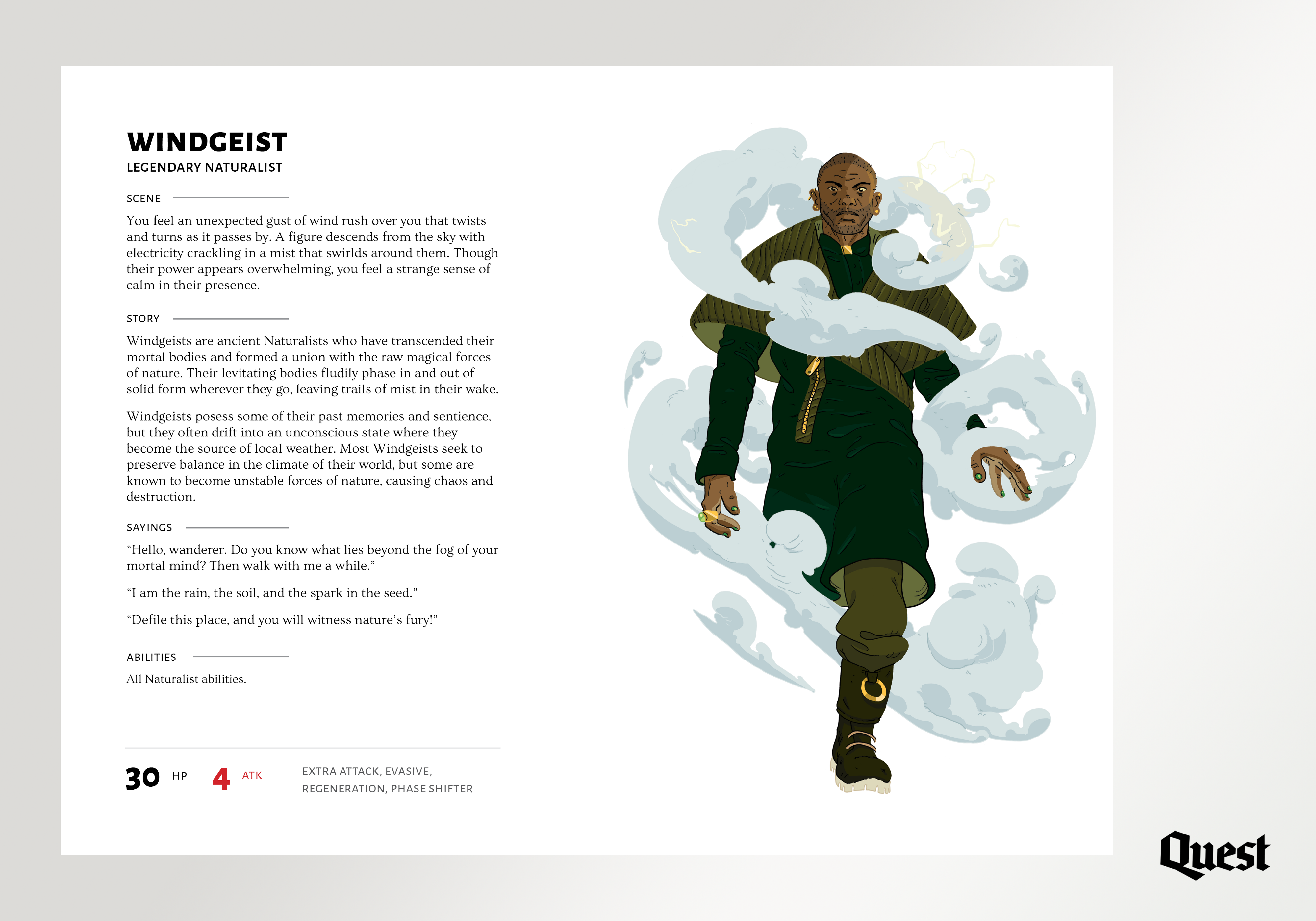 A two-page spread for the Character Book with an image of the Windgeist and its descriptive information.