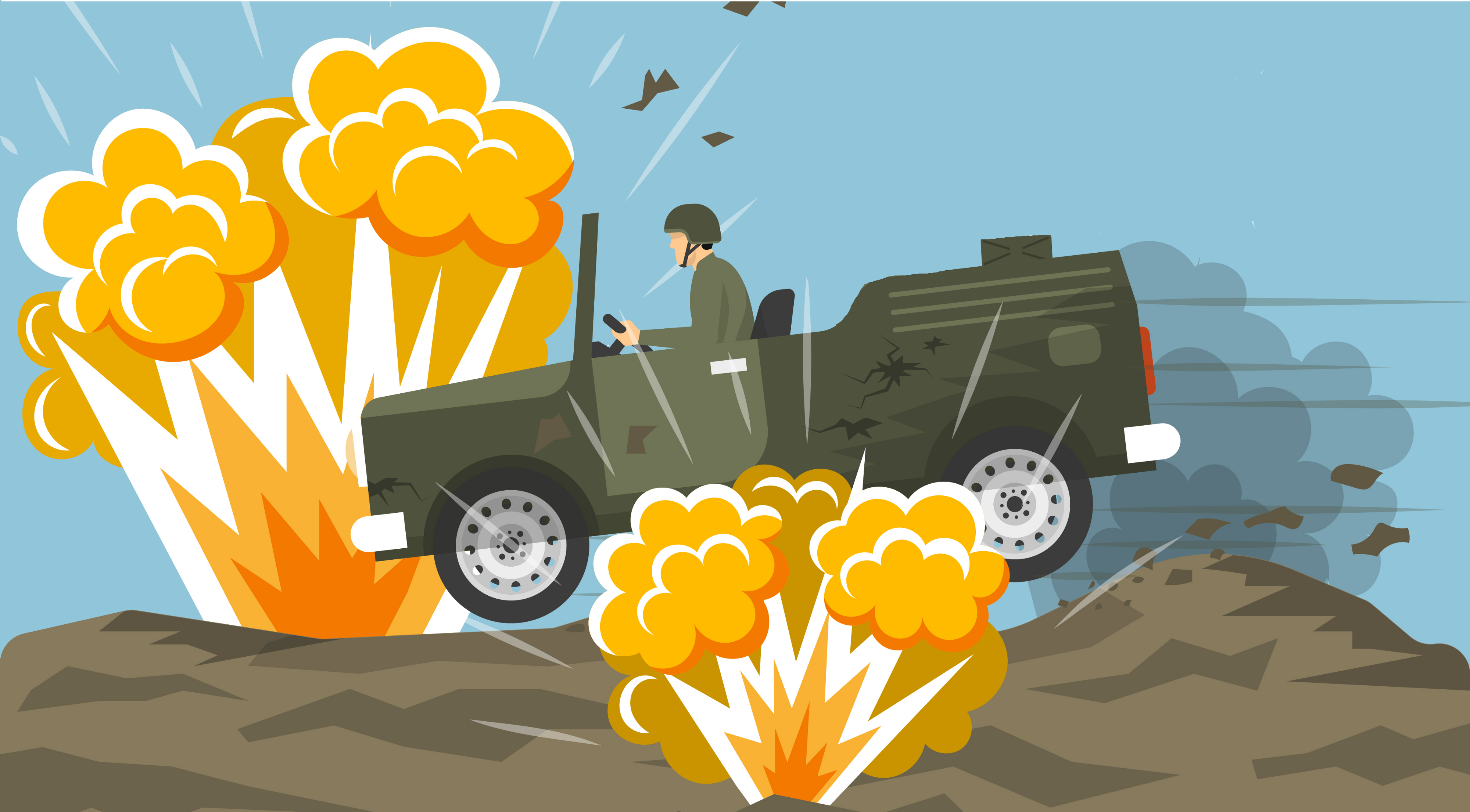 [🎨] A military jeep driving through a minefield, symbolizing pitfalls.