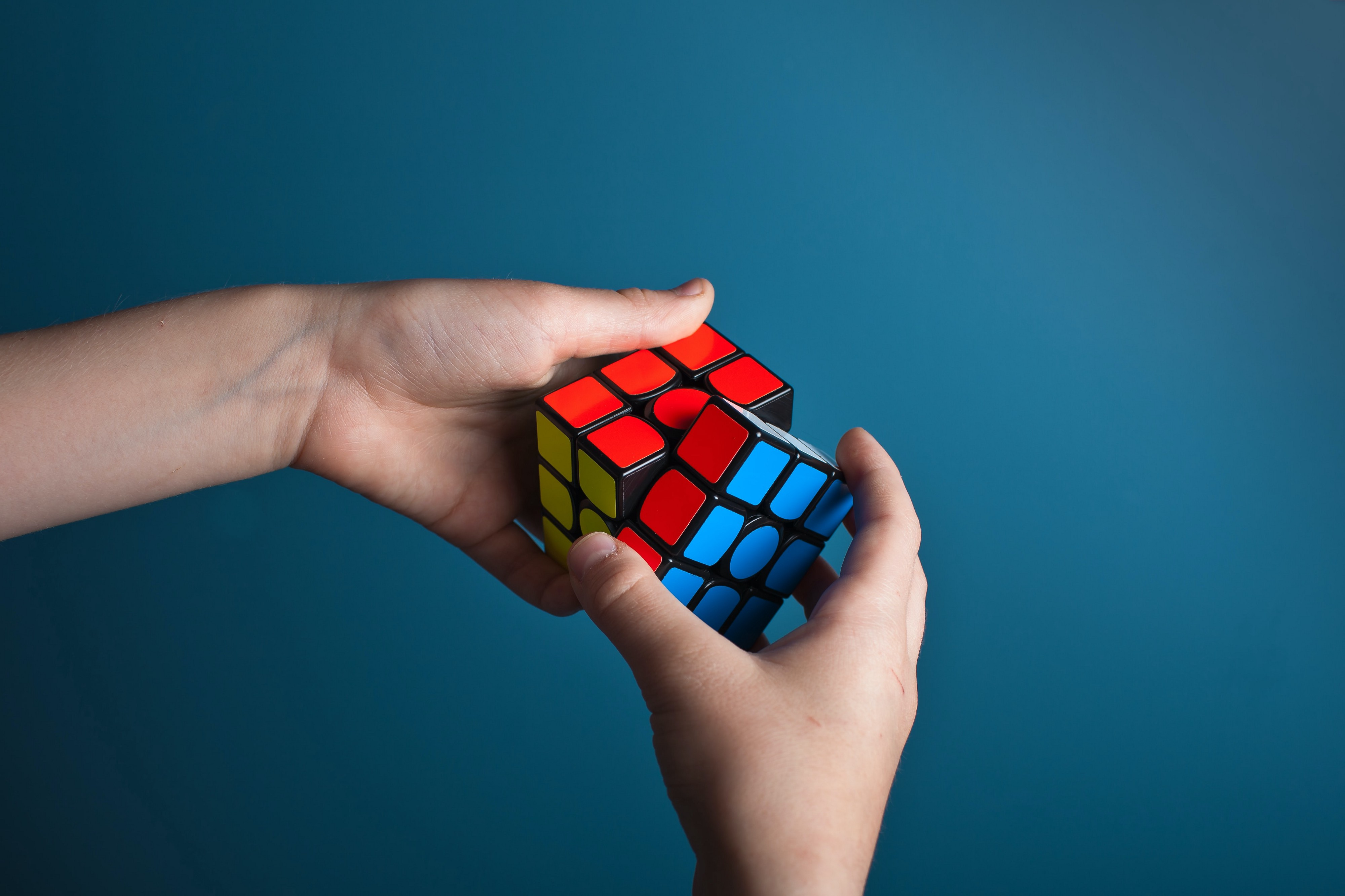 Trying to solve a Rubik's cube.