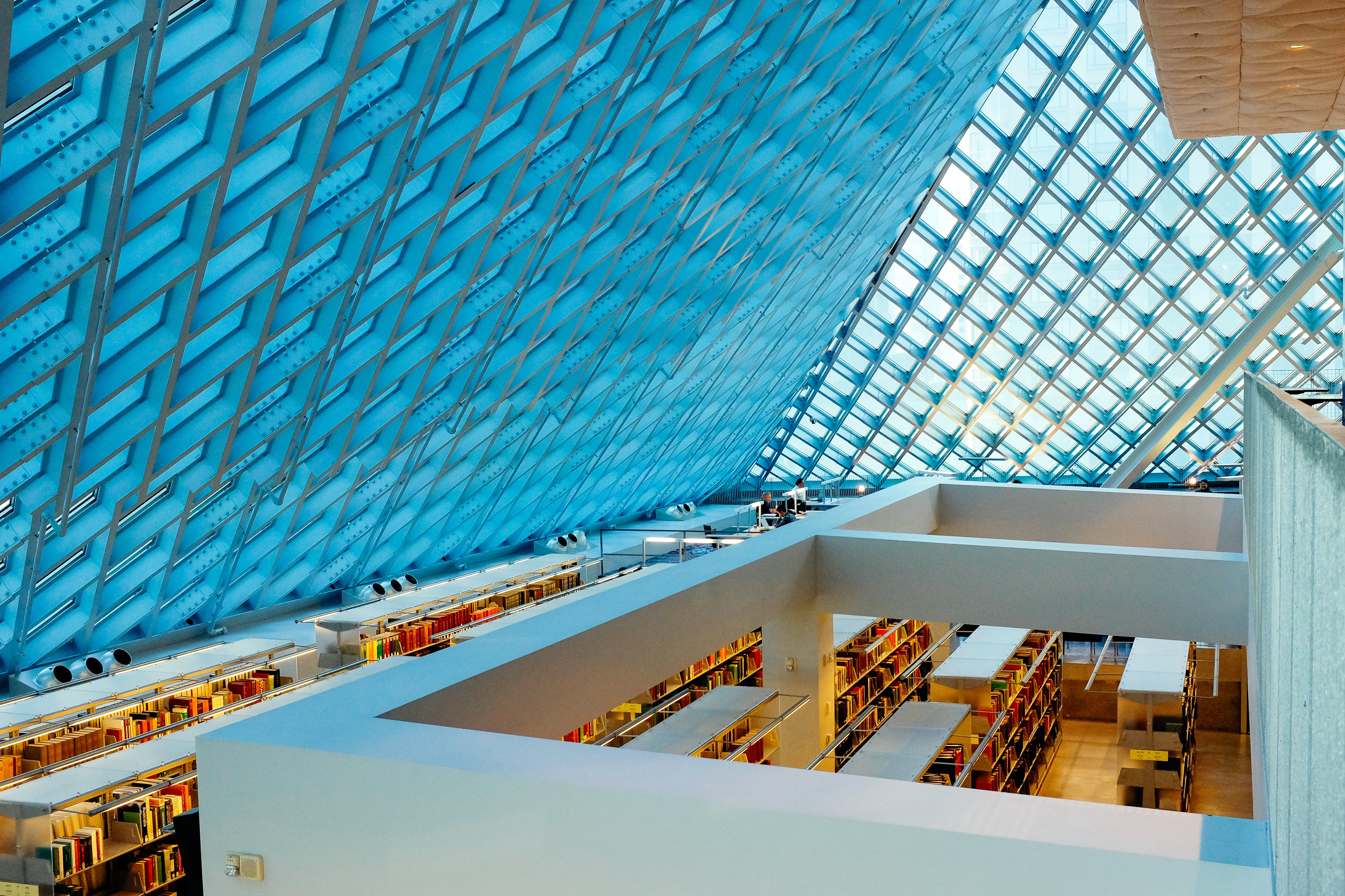 The inside of a library with a geometrically patterned glass ceiling and shelves, books, and tables. Photo by Pavan Trikutam.