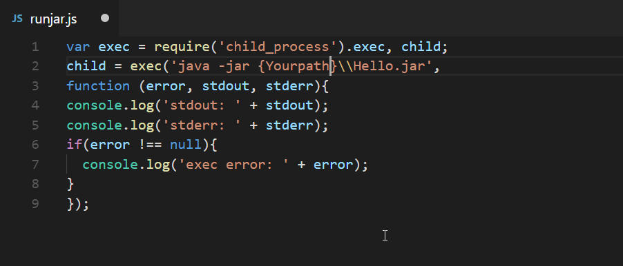 How to Create JAR file and Using child_process OR shell