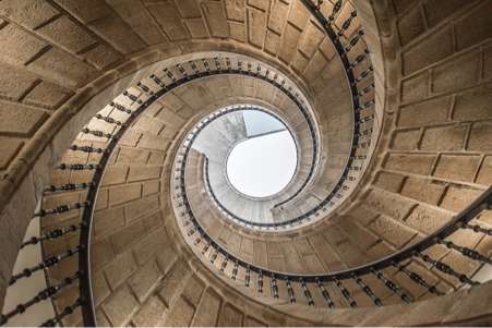 Image of a long spiral staircase