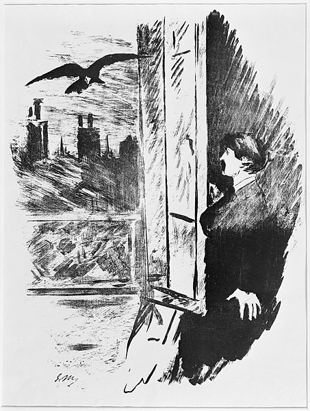 A sketch of a man holding open a window as a raven flies in.