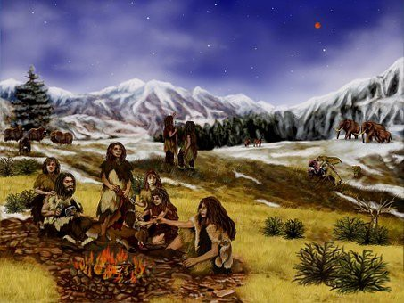 An image of a Neanderthal family as envisaged.
