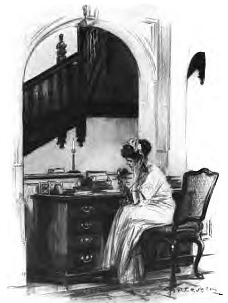 Black and white pencil drawing of a young woman in Victorian dress talking on a vintage telephone on a large desk