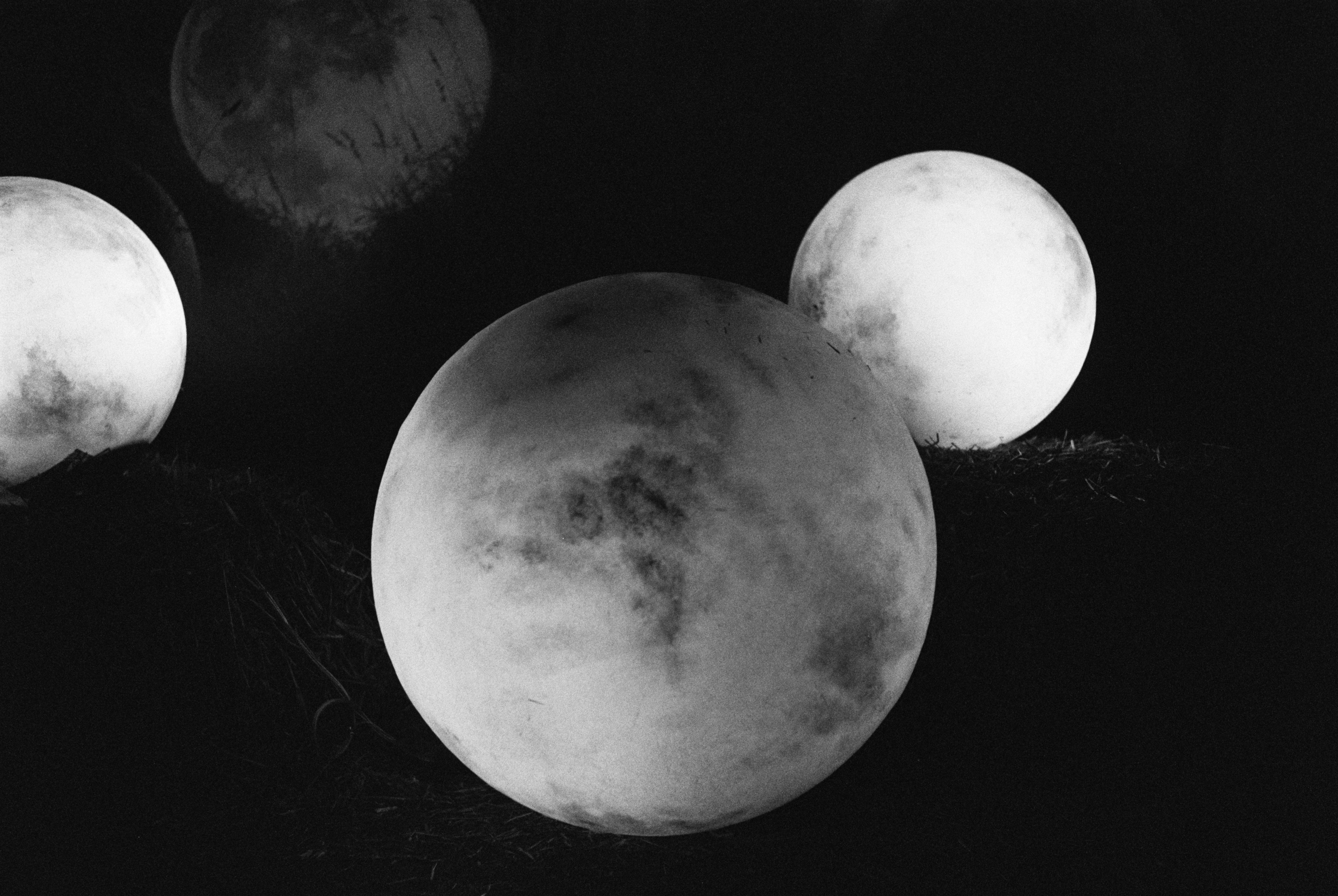 Black and white image of planets in space