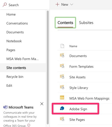 Shows site-contents and the Adobe Sign item to click.