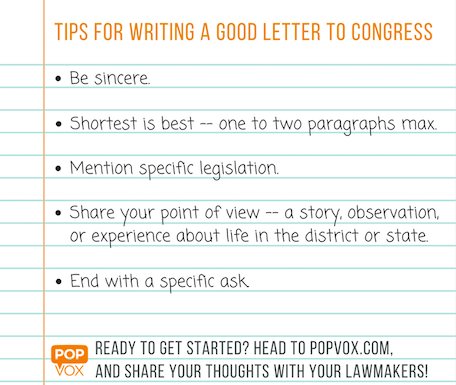 writing a letter to congress