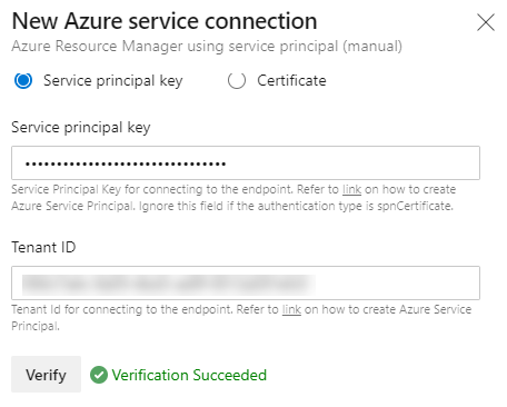 Image showing the result of re-validating the connection from Azure DevOps to Azure
