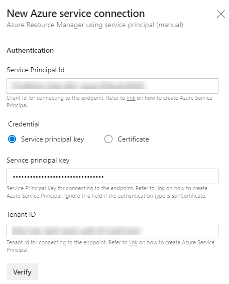 Image showing Azure service connection authentication section