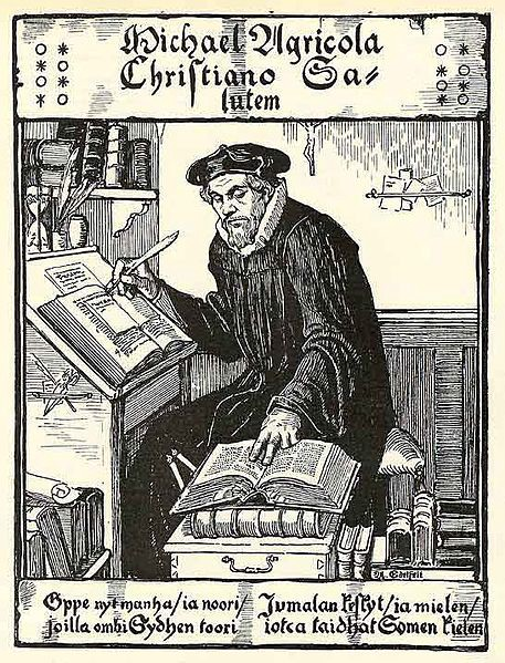 A man in 17th century copying a bible