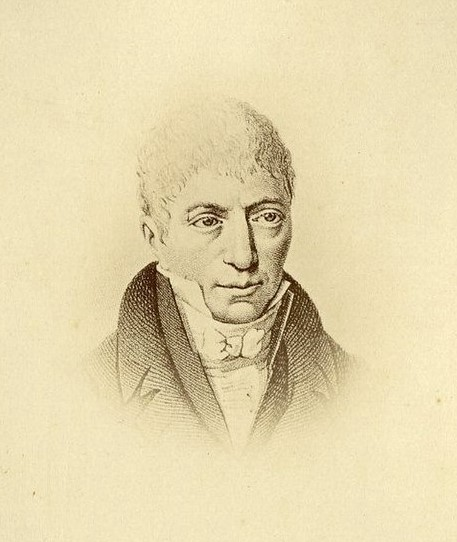 Monochrome engraving of a man with light hair wearing a white shirt, white neck tie and dark coat.