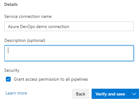 Image showing basic details for the Azure service connection