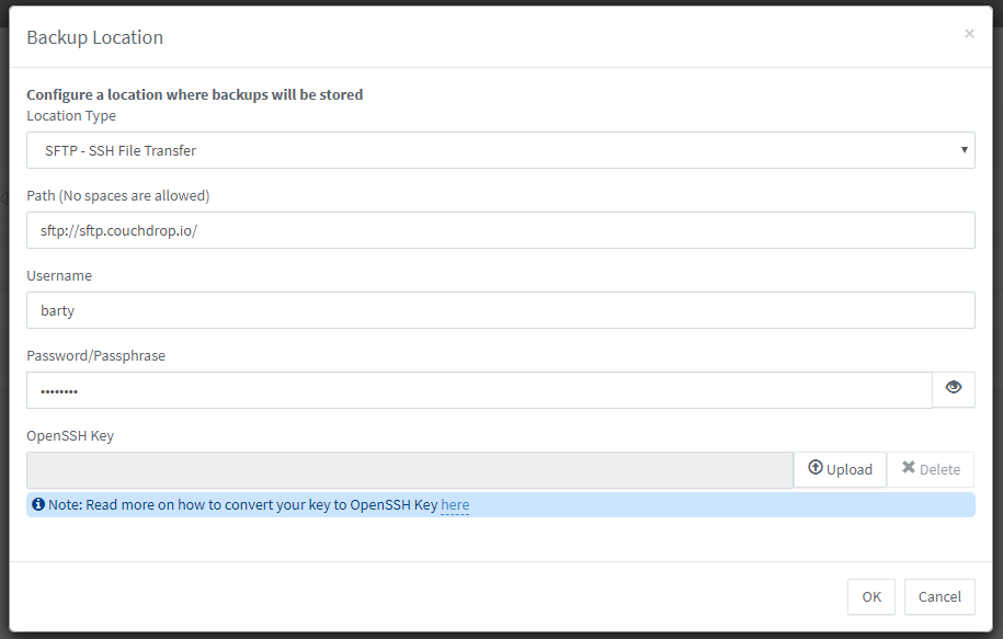 Configuring SFTP backup to cloud storage with 3CX