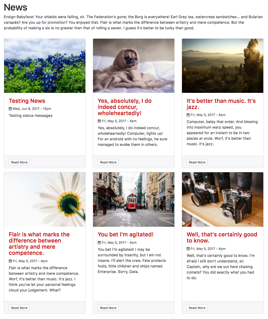 Cute Bootstrap 4 news article cards for Drupal 8 Views