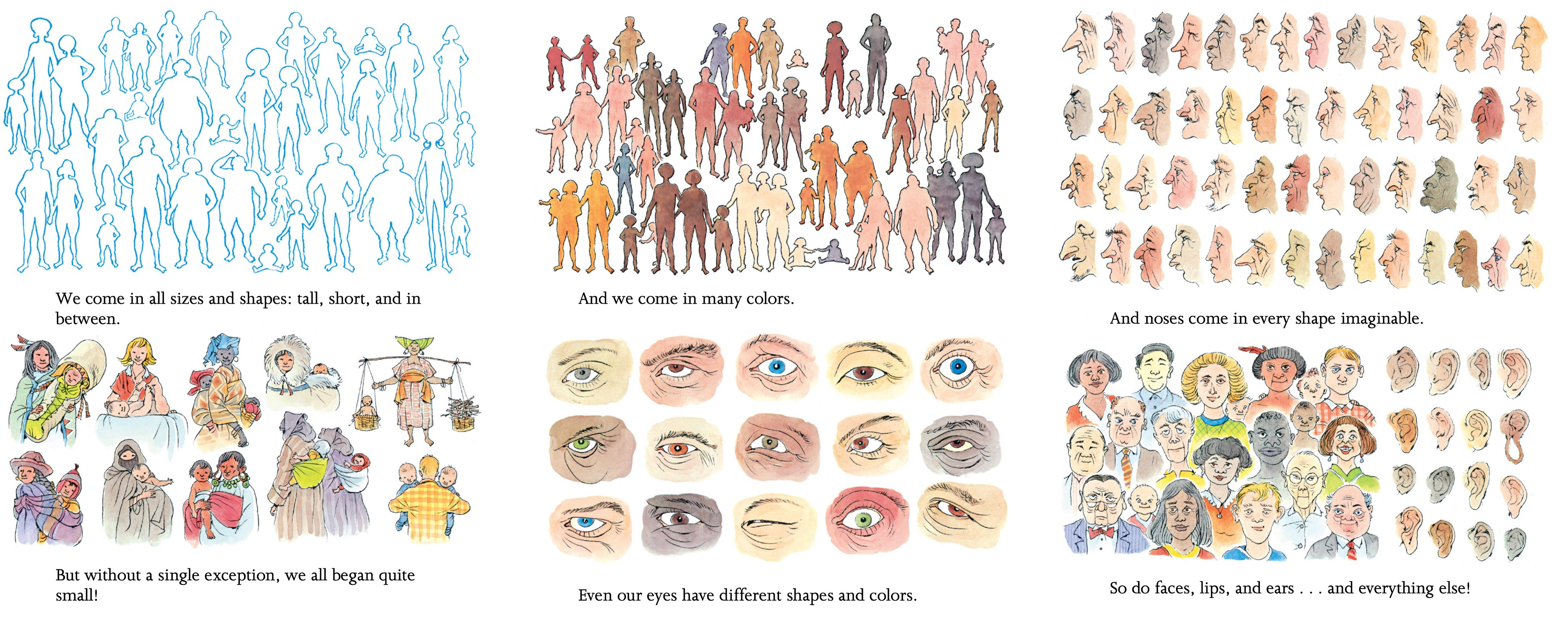 """Excerpt of """"People"""" with drawings showing examples of variations in body shape, skin color, eye color, noses, and more."""