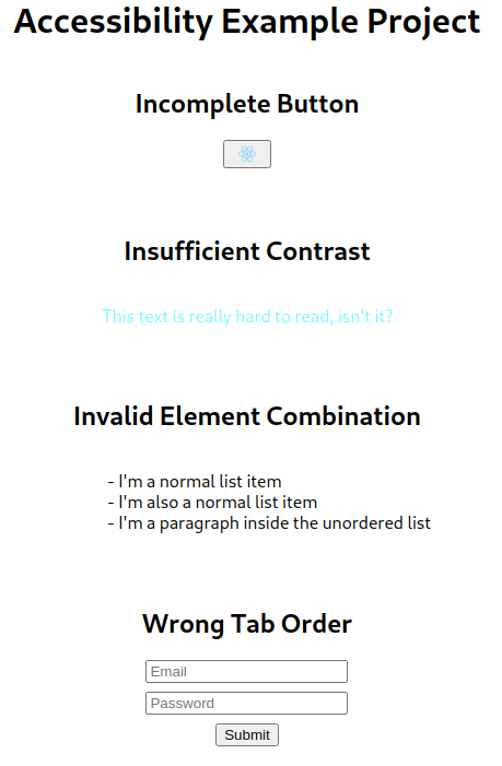 Screenshot of a very simple web page I wrote to show some examples