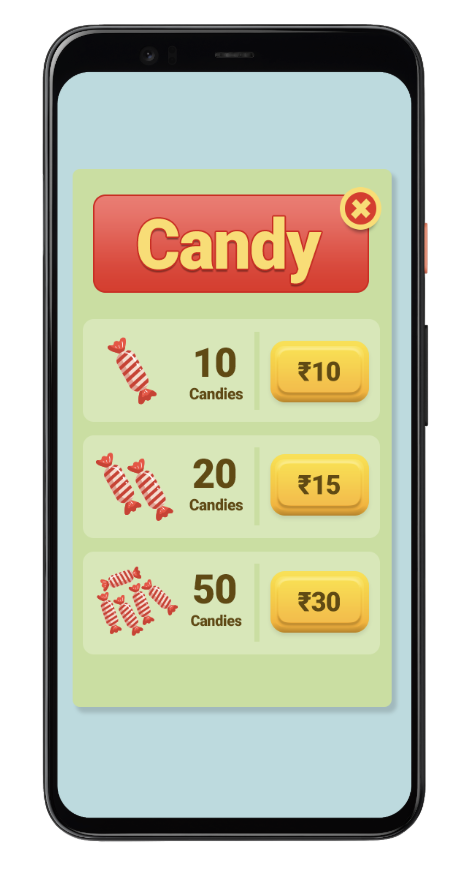 Phone screen of a candy game