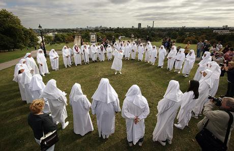 Contemporary Druids in Britain, celebrating the summer solstice. From The Telegraph.
