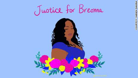 """Drawing of Breonna Taylor with flowers, with caption """"Justice For Breonna"""""""