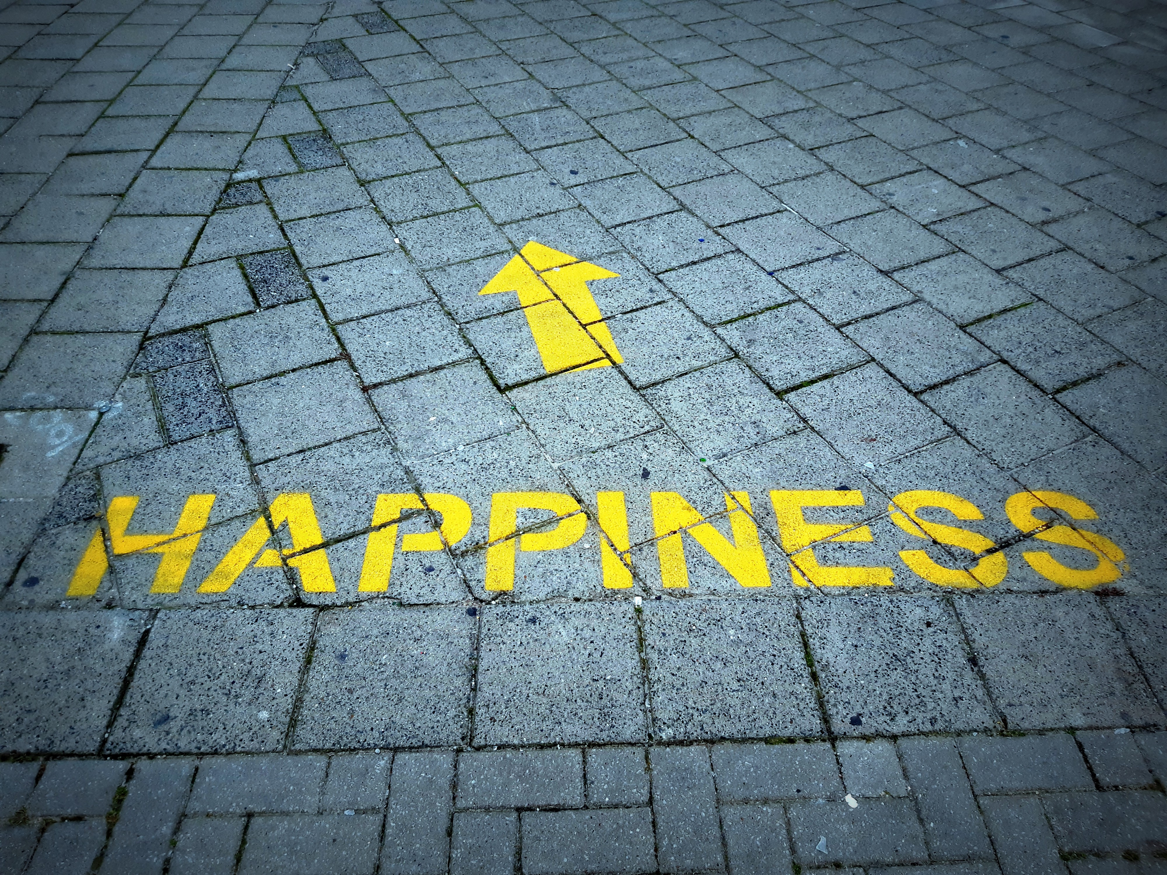 a street with the words happiness stencilled onto the plaster stone