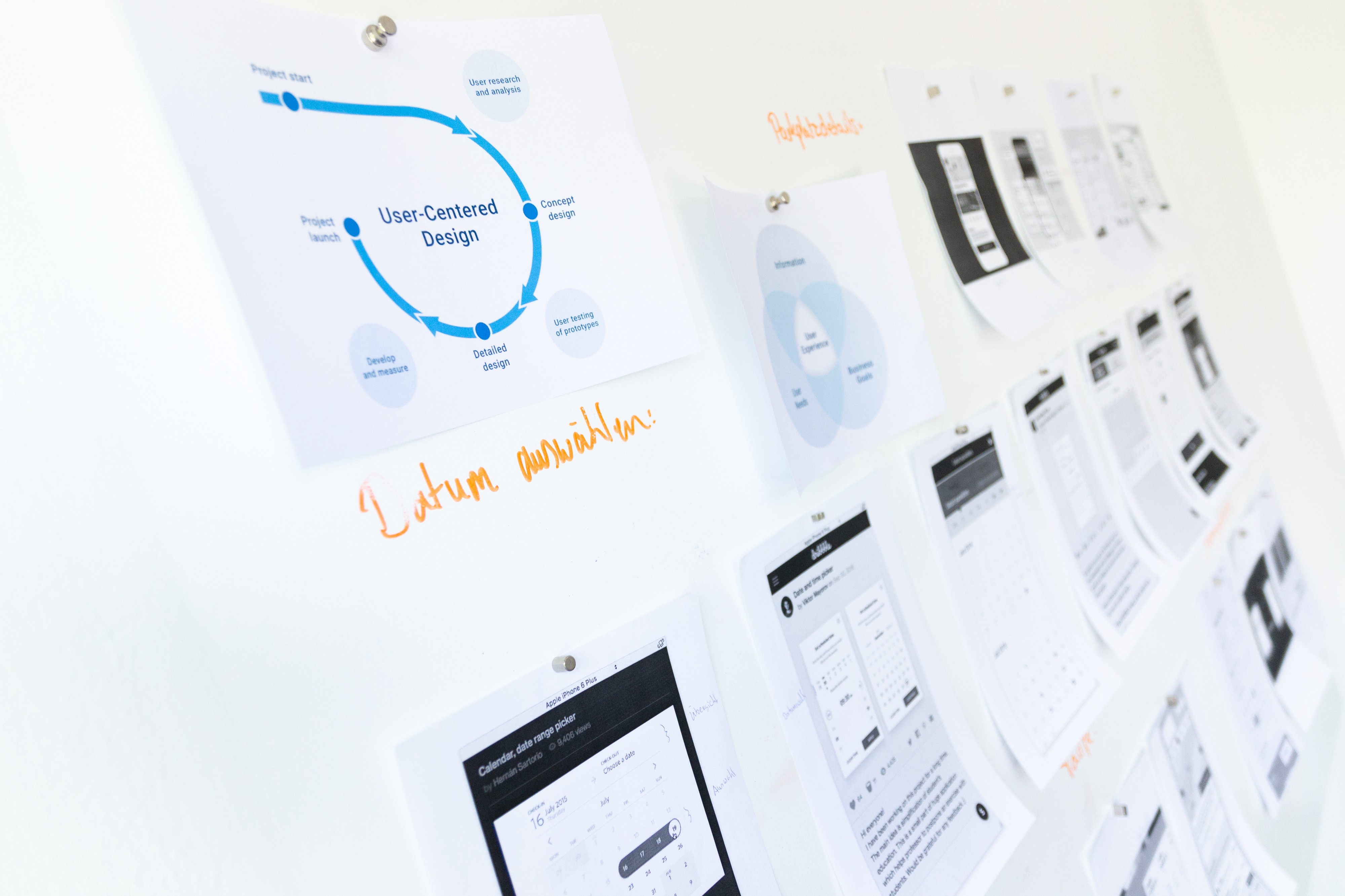 A whiteboard with some charts, infographics and cards with text.