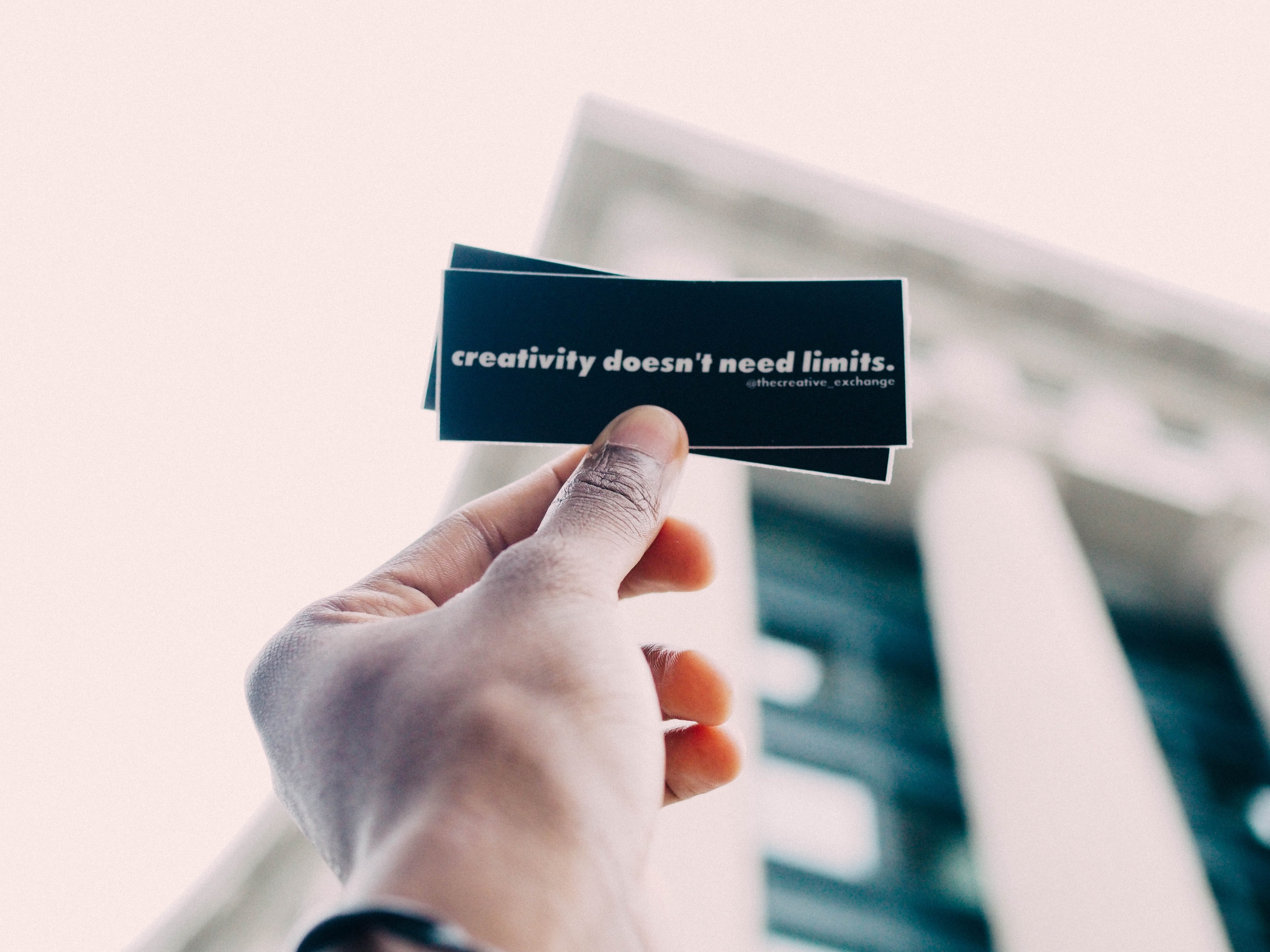 A sticker says: creativity doesn't need limits.