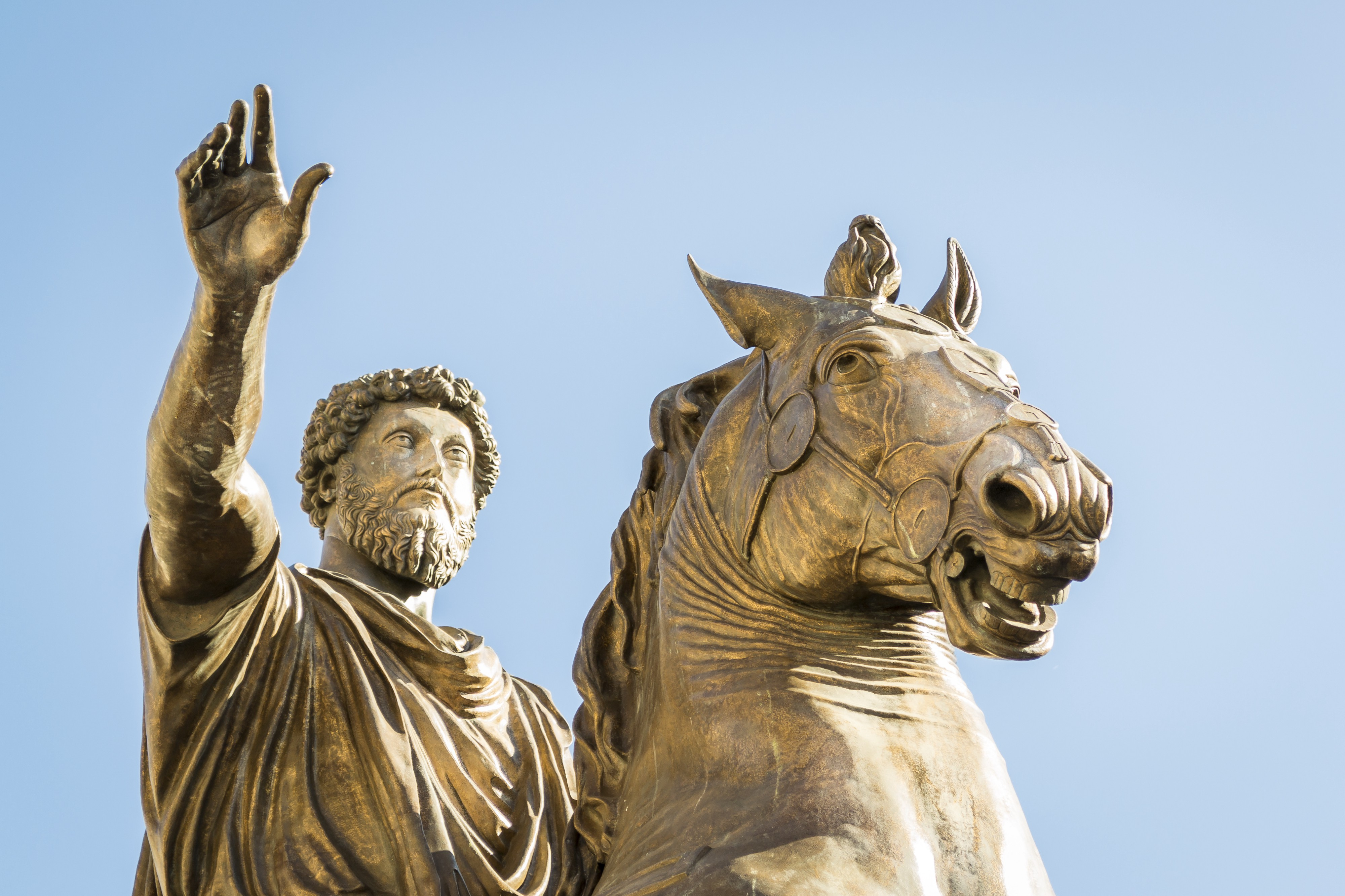 A statue of Marcus Aurelius on the Capitoline Hill in Rome.