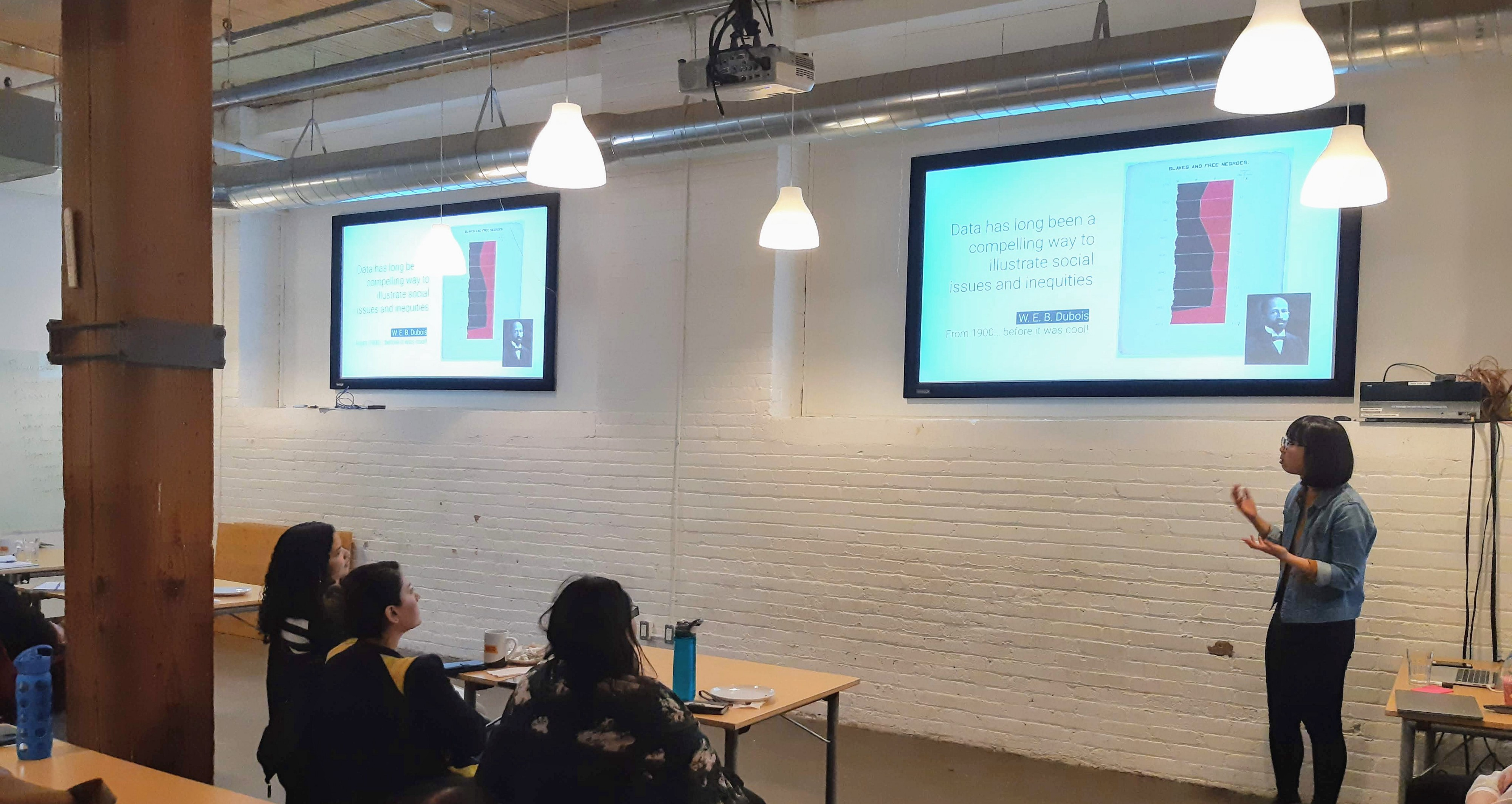 Lorraine Chuen presenting at our 'Data Visualization: Telling Stories with Data' event.