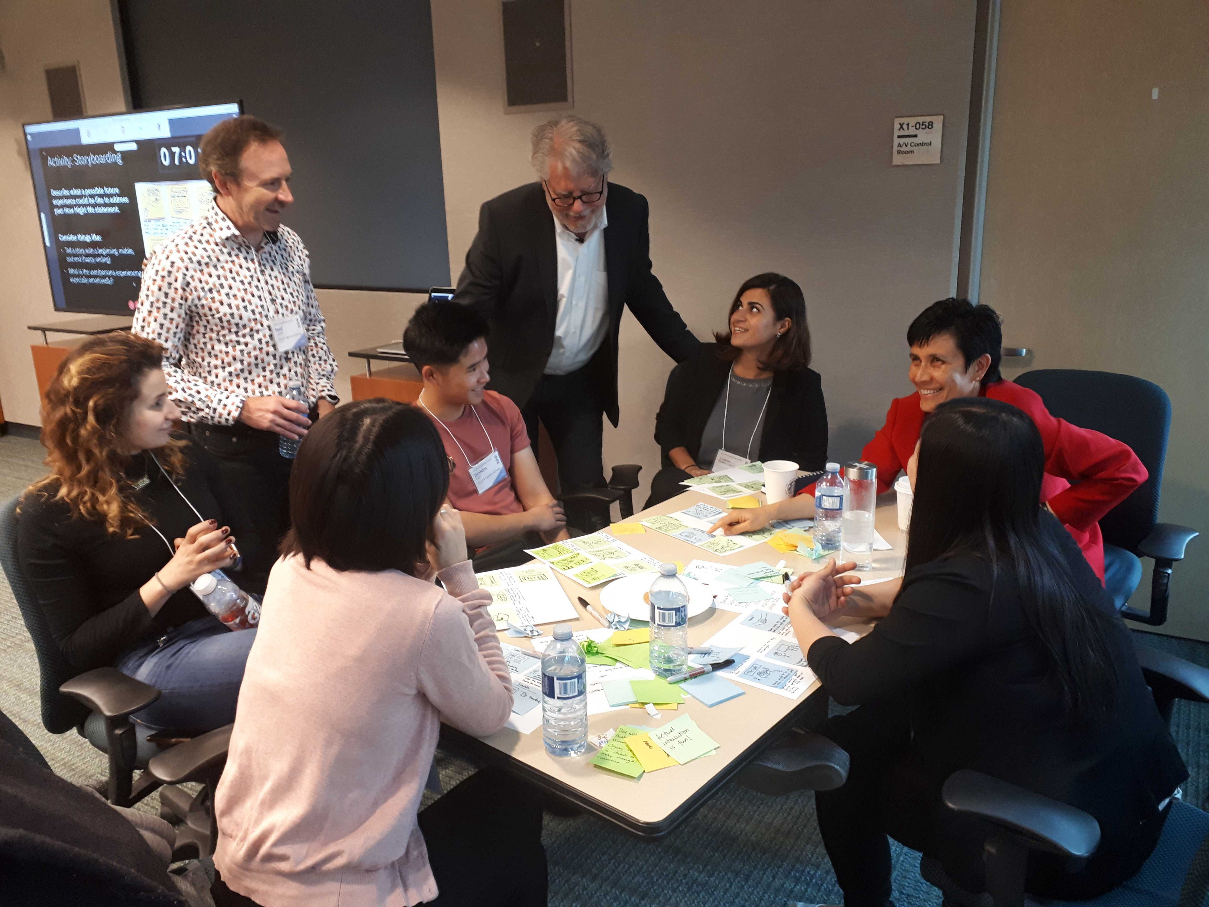 This is an image of my team sharing our idea with the hosts of the conference, Karel Vredenburg and Gord Davison.