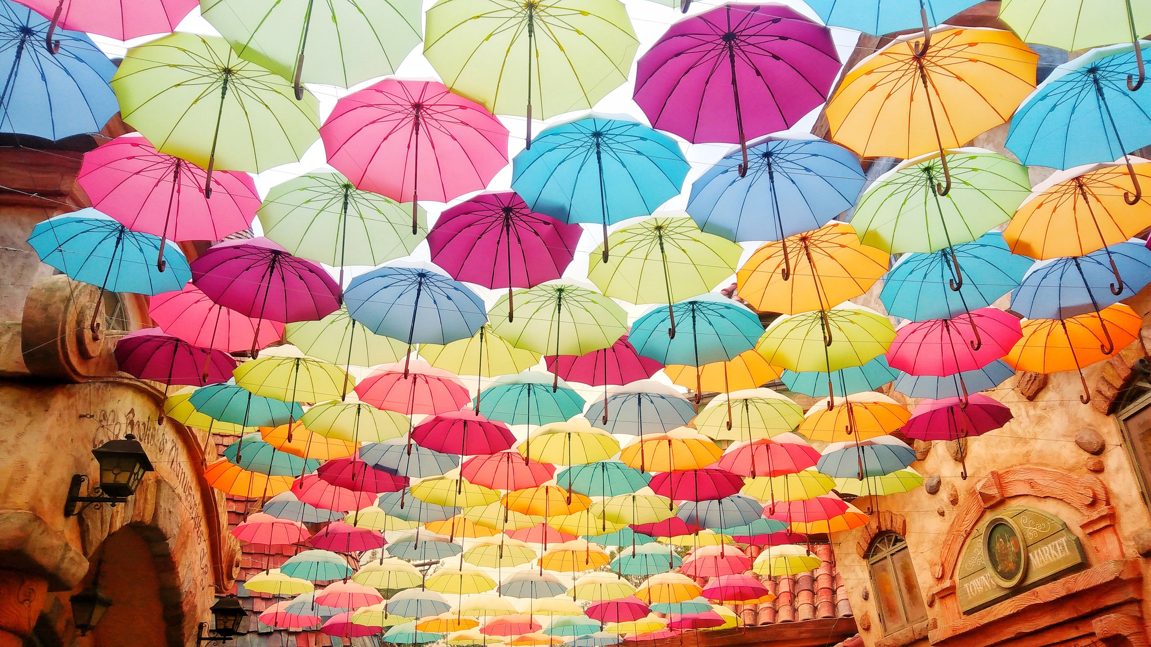 Lots of colorful umbrellas