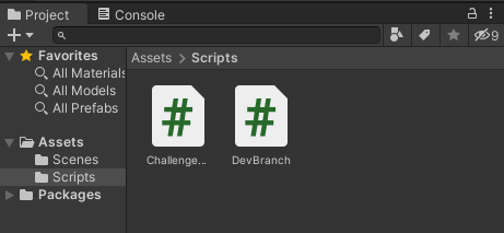 The new DevBranch script will suppose a change in the files of the Unity project