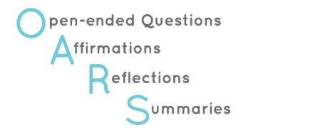 Image with caption: Open ended questions, affirmations, reflections, summaries