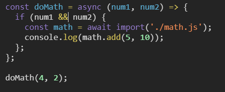 Dynamic Import example, What's new in JavaScript ES2020