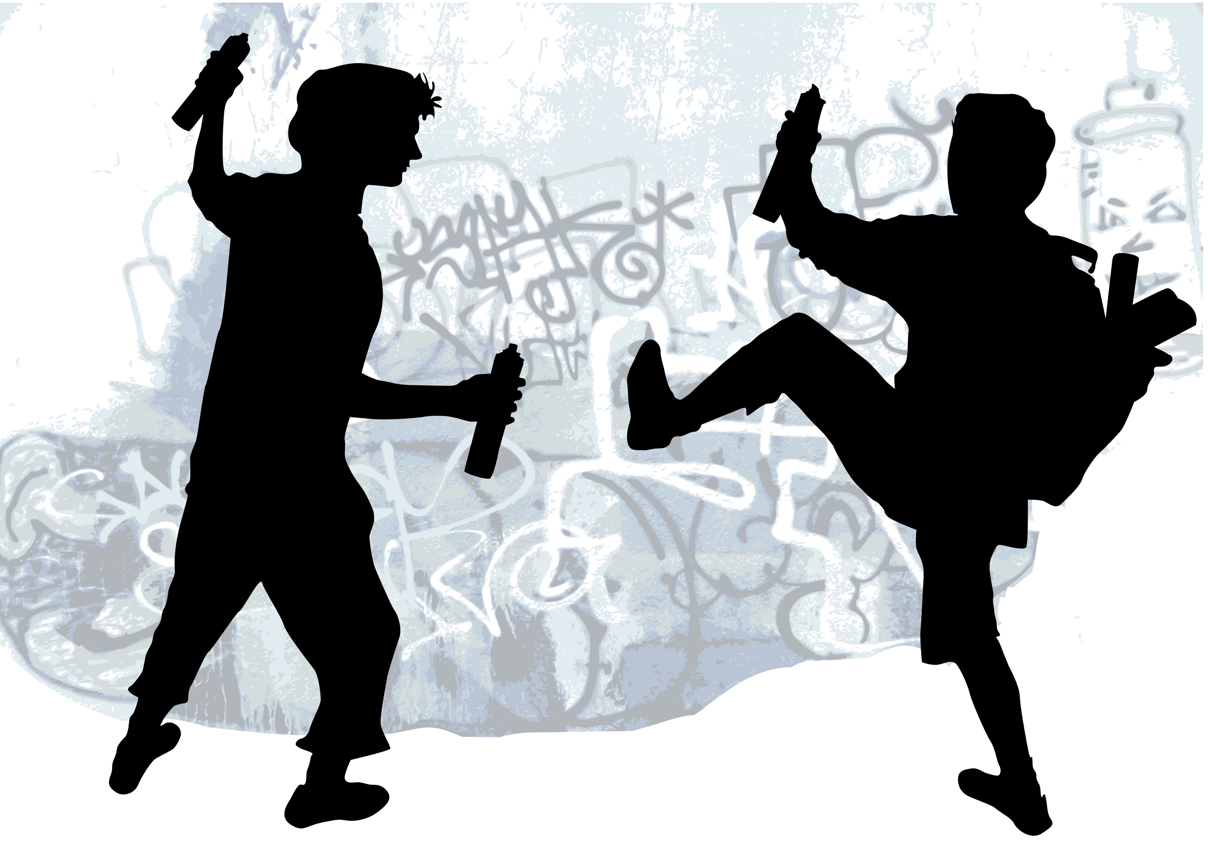 silhouettes of taggers drawing graffiti