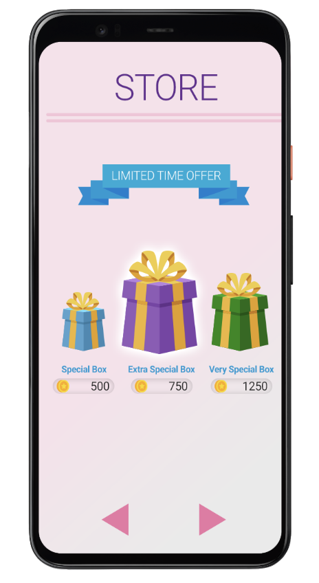 Phone screen of in-app store special boxes