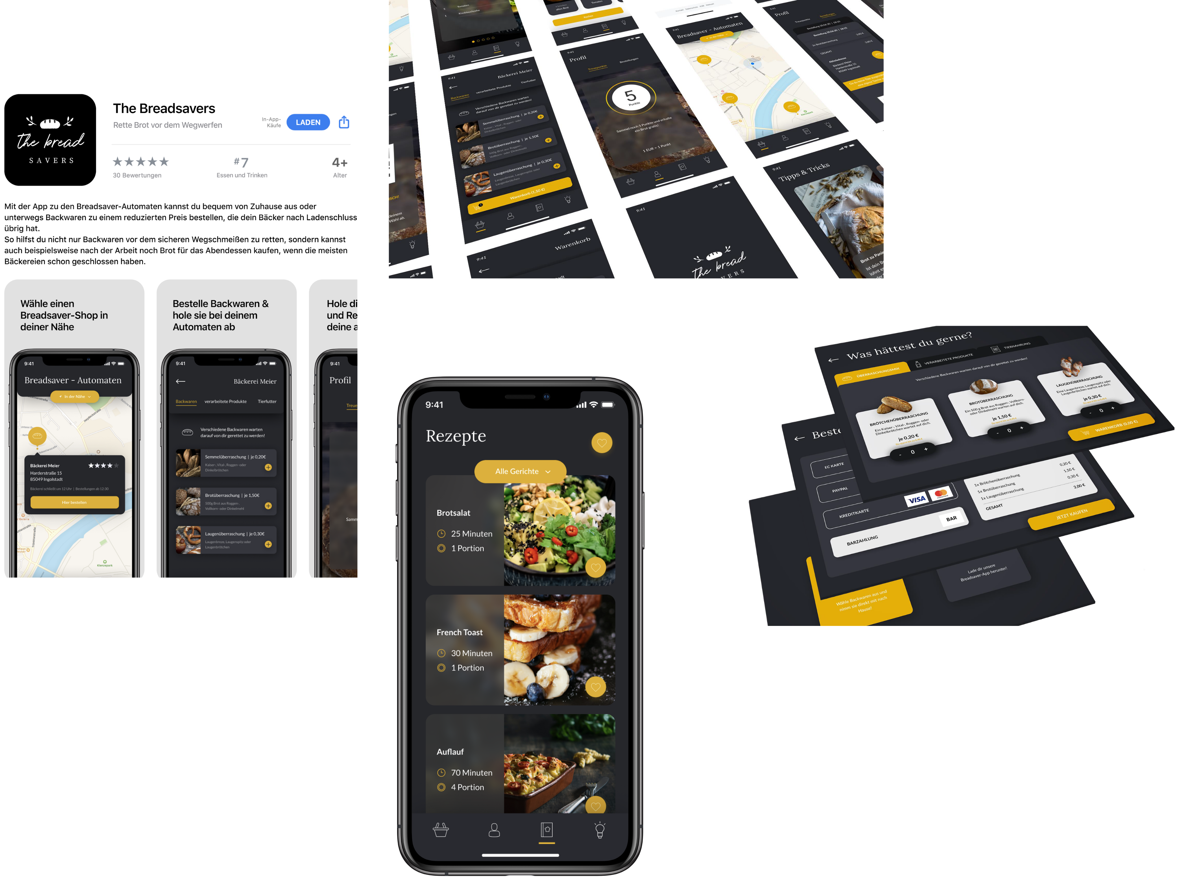 Multi-stage vending machine app interfaces and app store preview